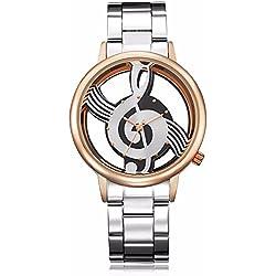 Unisex Nota Musical Hueco Patrón analógico Dial Redondo Reloj de Pulsera Personalidad Inoxidable Acero Hueco Hoverxe Moda Novedad Cuarzo Clave de Sol Pareja de Dos Tonos