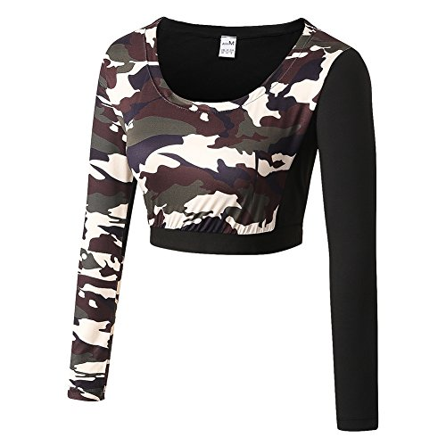 Yalatan Women Tops Tee for Camouflage Yoga Running Workout Gym Fitness (Tee Yoga-womens)