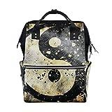 COOSUN Yin und Yang-Symbol auf Grunge Schwarzweiß Nappy Wickeltasche Windel Rucksacks mit Insulated Taschen Stroller Straps, großen Kapazitäts-Multi-Funktions-stilvoller Windel-Tasche für Mama Dad A