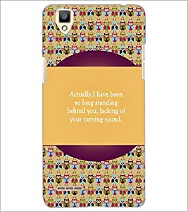 PrintDhaba Quote D-5721 Back Case Cover for OPPO F1 (Multi-Coloured)