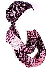 combinaison / set bonnet / chapeau tricoté slouch beanie et écharpe assorti - couleurs différentes