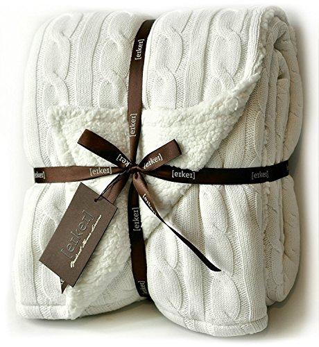 Faux Kaschmir-pullover (Eikei Kabel Knit Sherpa Übergroße Überwurf Wendedecke Faux Schaffell gefüttert Cozy Baumwolle Blend Pullover afghanischen in grau weiß oder türkis blau Traditionell 50Wx70L X-Large Off White)
