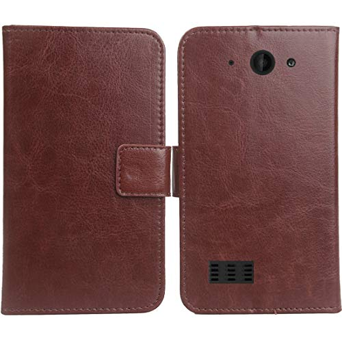 Gukas PU Leder Tasche Hülle Für Archos Saphir 50X 5 Handy Flip Design Brieftasche mit Karten Slots Schutz Protektiv Case Cover Etui Skin (Farbe: Braun)