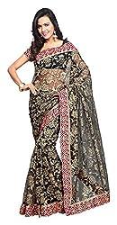Aruna Sarees Womens Net Saree with Blouse Piece (Black)