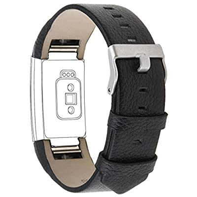 Charge 2 Replacement Bands, CAM-ULATA Soft Fashion Genuine Leather Bands Sport Adjustable Comfortable Replacement Wristbands Strap for Fitbit Charge 2 Smartwatch Fitness Wristband