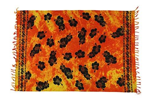 Beste Auswahl Großer Premium Sarong Pareo Wickelrock Strandtuch Schal Handtuch Wickelrock Orange Schwarz