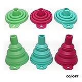 Collory Trichter-Set faltbar aus Silikon für Küche und Haushalt (3er-Set) | Hitzebeständig -30°C - +230°C | Öl-Trichter | mini Silikon-Trichter | Einfüllhilfe | Trichter-Satz | Zusammenklappbar