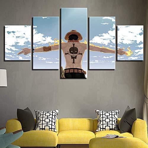 BOYH 5 Stück One Piece Zeichentrickfigur-Plakat Wall Art Poster HD Drucke Wandkunst Zuhause Dekorationen,B,10×15×2+10×20×2+10×25×1