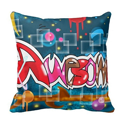 Reasonwe Custom Awesome Throw Square Pillow Case 18x18 Inches for put in Car Seat, Patio, Bedroom, Couch, Sofa (Sofa King Awesome)