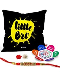 "Indigifts Rakhi Gifts-Lilttle Bro Quote Printed Black Satin Cushion Cover With Filler, 12""x12"", Crystal Rakhi, Roli, Chawal, Greeting Card"