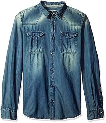 Buffalo David Bitton Men's Satilam Long Sleeve Light Denim Shirt, Indigo, Medium