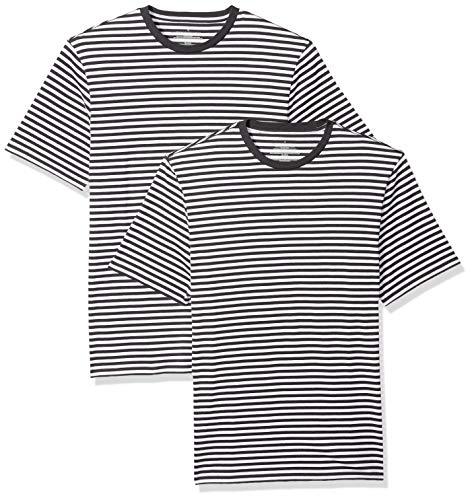 Amazon Essentials, locker sitzende Herren-T-Shirt mit Rundhalsausschnitt und kurzen Ärmeln, Schwarz(Schwarz/White), US XXL (EU XXXL - 4XL) -