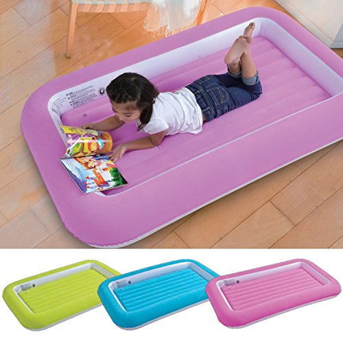 Parkland®, lettino gonfiabile di sicurezza vellutato per bambini, materassino gonfiabile da campeggio, morbido e confortevole, colorato e divertente, materassino per ospiti, pink