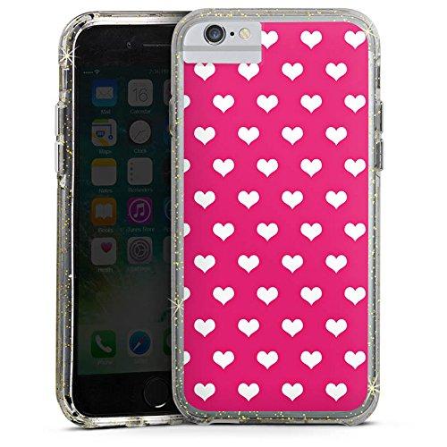 Apple iPhone 6 Bumper Hülle Bumper Case Glitzer Hülle Polka Herz Pink White Bumper Case Glitzer gold
