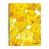'Herlitz Blocco a spirale/College Block/DIN A4/A quadretti/fiori gialli