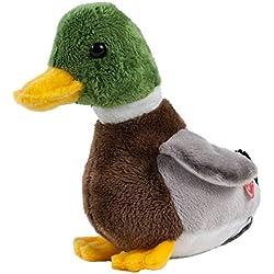Peluche de pato sentado, con sonido, 18cm, color marrón/gris/verde