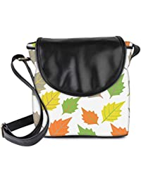 Snoogg Colorful Leaves White Pattern Womens Sling Bag Small Size Tote Bag