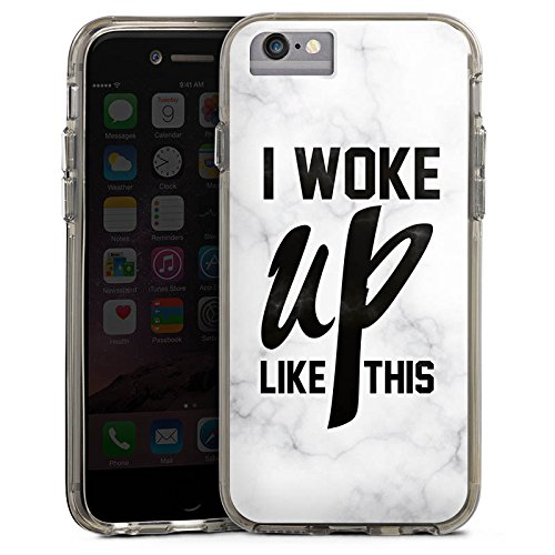 Apple iPhone 6 Bumper Hülle Bumper Case Glitzer Hülle Flawless Beyonce I Woke Up Like This Bumper Case transparent grau