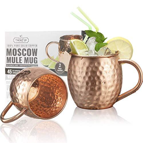 Tazas de cobre sólido para coctel Moscow Mule - 2 Tazas - Twinz'Up - Sin revestimiento - Jarra de cobre tipo...