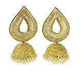 Satyam Jewellery Nx Golden Jhumka Earrin...