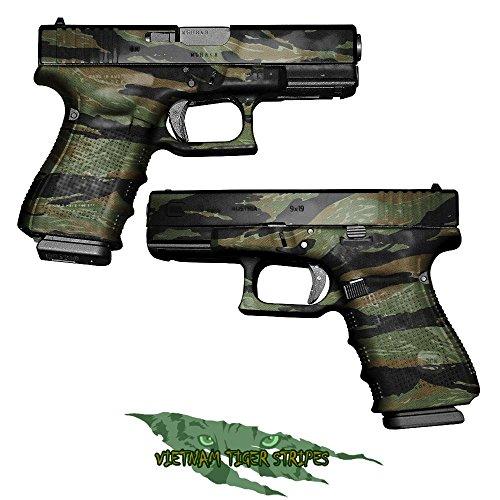 GunSkins - Coperture viniliche mimetiche per pistole, sagome già (Vietnam Tiger Stripe)