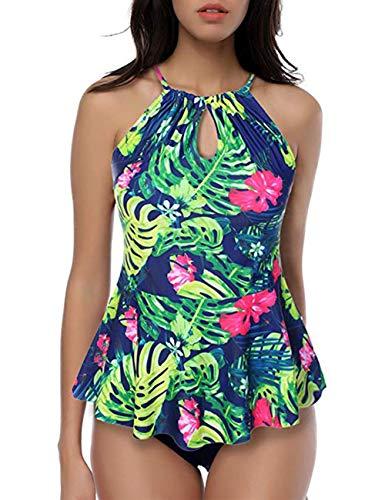 FeelinGirl Vintage 50's Rockabilly Damen Bademode Bikini Swimsuit - Floral - High Waisted - Bauchweg - Plus Size