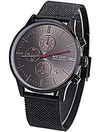 Megir M2011 - Reloj de pulsera para hombre, mecanismo de cuarzo, calendario, cronógrafo, puntero luminoso, resistente al agua, color negro