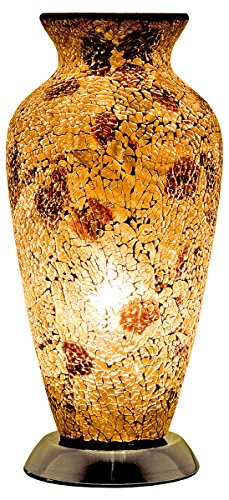 Febland Autumn Gold Mosaic Glass Vase Lamp, Glass