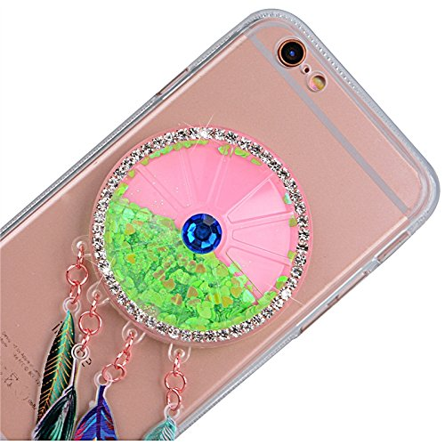 Yokata für iPhone 6 / iPhone 6s Hülle Weich Silikon Transparent Case Schutzhülle Durchsichtig Clear Crystal Glitzer Cover Backcover Bumper mit 3D Federn Campanula Lila Muster + 1*Stylus Pen Grün
