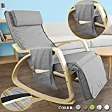 SoBuy Schaukelstuhl mit Tasche (verstellbares Fußteil),Relaxstuhl,Relaxsessel,Belastbarkeit 150kg, FST18-DG