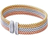 Citerna Gold Plated Silver Tri Coloured Basket Weave Design Cuff Bangle of Diameter 60 mm