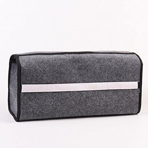 Alivier Gris Grande antidérapant Coffre de Voiture de Coffre de Rangement Organiseur Coque Outil Sac - Convient pour véhicule 49 * 16 * 24cm Noir
