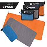 WildHorn Outfitters Microlite Gym Towel Bundle for Exercise, Camping, Hiking & Backpacking. Microfibre