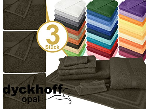 Frottiertücher der Serie Opal - erhältlich in 33 modernen Farben und 7 verschiedenen Größen -Markenqualität von Dyckhoff, 1 Pack (3 Stück) - Handtücher [50 x 100 cm], braun