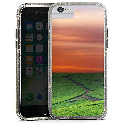 Apple iPhone 7 Plus Bumper Hülle Bumper Case Glitzer Hülle Wiesenlandschaft Sonnenuntergang Irland Bumper Case Glitzer gold