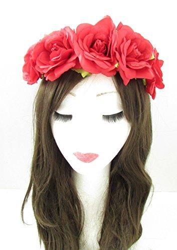 Rose rouge cheveux fleur couronne bandeau Guirlande vintage/festival/style bohème Motif floral A63 * * * * * * * * exclusivement vendu par – Beauté * * * * * * * *