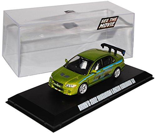 Greenlight Mitsubishi Lancer Evolution VII Grün Brian O Connor Fast and Furious 1/43 Modell Auto mit individiuellem Wunschkennzeichen