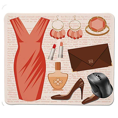 J5E7JYTE Quality Selection Comfortable Mouse Pad,Accessories Fashion Cocktail Dress Lipstick Earrings High Heels Decorative Mouse Pad Fashion Dress Forms