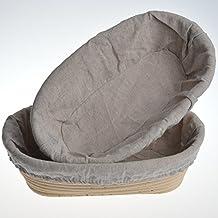 Banasta, 2 piezas, 25cm, ovalada, para leudar masa de pan, Ratán impermeable, con forro de lino