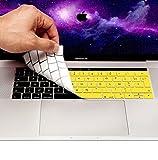 MyGadget Coque Clavier AZERTY pour Apple Macbook New Pro 13/15 2016 + - Protection poussière Silicone Flexible - Couverture Ultra Fine en Jaune