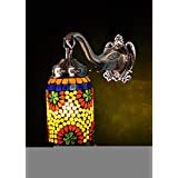 Rajasthani Hand Painted Work Design Glass Wall Lamp Room Decoration 10 X 9 Inches