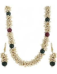 Zeneme Exclusive Gold Plated Pearl Studded Traditional Chain Necklace Set / Jewellery Set With Earrings For Girls...