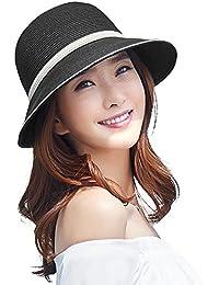 466384198d5 Siggi Womens UPF 50+ Packable Summer Sun Straw Hat Wide Brim Foldable  Adjustable