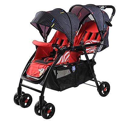 Twin baby stroller zxmpfg Cochecito Doble Ligero, Cochecito Plegable fácil, diseño Compacto de Alto Paisaje, Viaje Conveniente, Asiento y toldo reclinables multifunción, Rojo, Azul