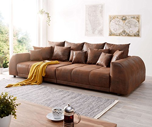 DELIFE Bigsofa Violetta Braun 310x135 cm Antik Optik inklusive Kissen Big-Sofa