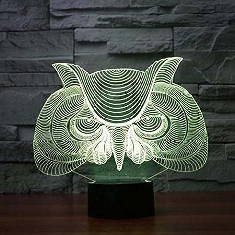 Illusione 3d lampada luce notturna jawell gufo 7Cambiare colore Touch USB tavolo regalo giocattoli