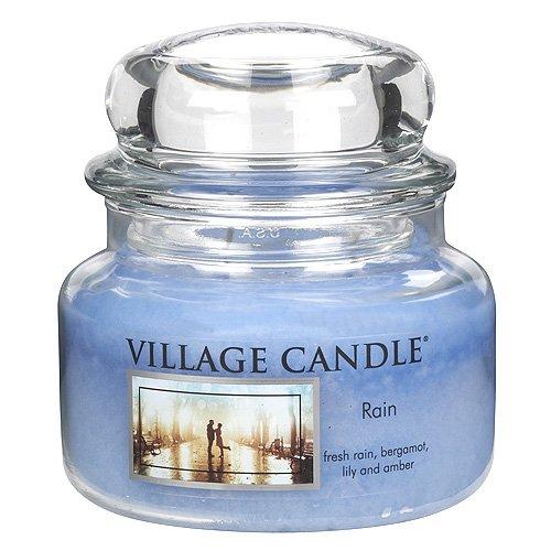 Village Candle Regen Duftkerze im Glas 312g, blau, 10.1 x 10.1 x 10.4 cm