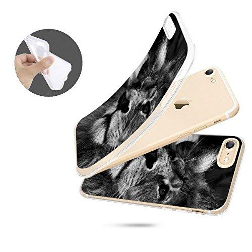 finoo | iPhone 7 Weiche flexible Silikon-Handy-Hülle | Transparente TPU Cover Schale mit Motiv | Tasche Case Etui mit Ultra Slim Rundum-schutz | Elefanten Marsch Löwe SW