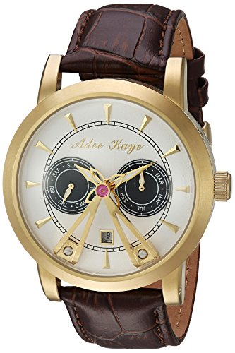 ADEE KAYE MEN'S 44MM BROWN GENUINE LEATHER BAND AUTOMATIC WATCH AK8871-GSV