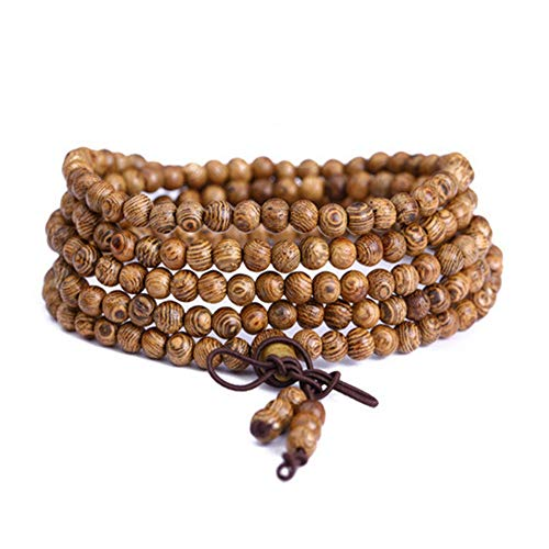 BANGLEW Armband Frauen Männer Multi-Ring Armband Naturholz Armbänder Perlen Armband Männer Frauen Armreifen Perlen Armbänder Schwarz Handgemachten Schmuck Gebet Perle